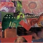 DUELING GUITARS, collage. Dueling Guitars emerged from pieces of greens and oranges torn randomly from magazines without attention to the images. After the patches were assembled, a semi-coherent narrative evolved. The guitars and dog reminded me of Dueling Banjos, a song and a scene from the film, Deliverance.