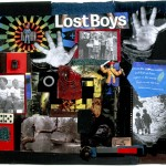 LOST BOYS, mixed media. Lost Boys, an early and central piece in my collection, began with a toy train conductor found on the grounds of Westboro State Hospital where a colleague and I were interviewing an adolescent boy. When I returned home, I found a magazine in my mail with the cover story, Lost Boys. Immediately, the title, the toy, and my two brothers, who both suffered from mental illness, became linked. To the train conductor, I added a toy pirate, some wilderness scenes evocative of Peter Pan and the image of a boy and girl walking out of the forest. The 2 photographs are actual family pictures. I'm the lone girl in the group picture at the top.