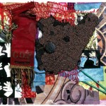 DANCING WITH BEARS, mixed media. Central to Dancing With Bears is a chunk of roofing tile resembling a bear. The combination of a vine from cherry tomatoes, the magician's gloves and a red ribbon with gold fringes, suggested dancing bears in a circus and a delightful children's song of that name.