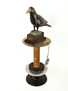 "'QUOTH THE RAVEN NEVERMORE: The End of the World as We Know It?"" Found Objects Assemblage, 23""x11""x9"""