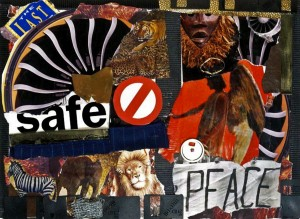 """THE LAST SAFE PEACE;"" Collage/Mixed Media Shadow Box; 16X20"""